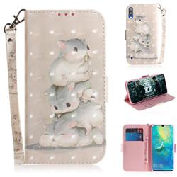 Three Squirrels 3D Painted Leather Wallet Phone Case for Samsung Galaxy M10