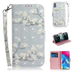 Magnolia Flower 3D Painted Leather Wallet Phone Case for Samsung Galaxy M10