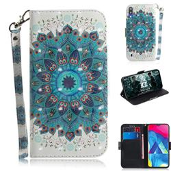 Peacock Mandala 3D Painted Leather Wallet Phone Case for Samsung Galaxy M10