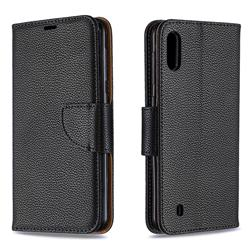 Classic Luxury Litchi Leather Phone Wallet Case for Samsung Galaxy M10 - Black