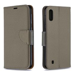 Classic Luxury Litchi Leather Phone Wallet Case for Samsung Galaxy M10 - Gray