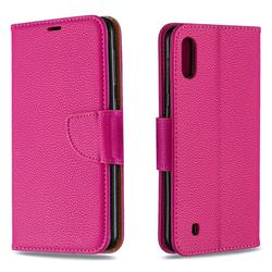 Classic Luxury Litchi Leather Phone Wallet Case for Samsung Galaxy M10 - Rose