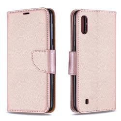 Classic Luxury Litchi Leather Phone Wallet Case for Samsung Galaxy M10 - Golden
