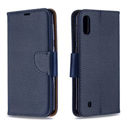 Classic Luxury Litchi Leather Phone Wallet Case for Samsung Galaxy M10 - Blue