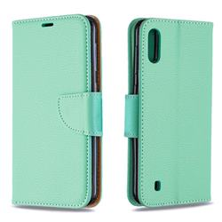Classic Luxury Litchi Leather Phone Wallet Case for Samsung Galaxy M10 - Green
