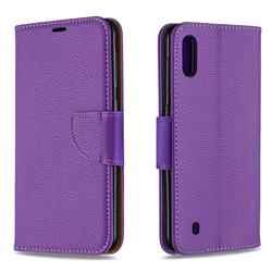 Classic Luxury Litchi Leather Phone Wallet Case for Samsung Galaxy M10 - Purple
