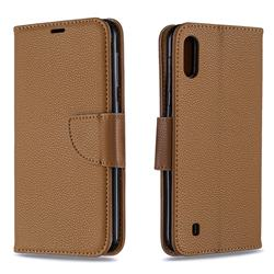 Classic Luxury Litchi Leather Phone Wallet Case for Samsung Galaxy M10 - Brown