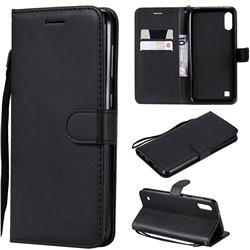 Retro Greek Classic Smooth PU Leather Wallet Phone Case for Samsung Galaxy M10 - Black