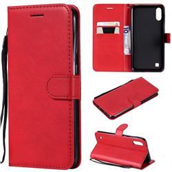 Retro Greek Classic Smooth PU Leather Wallet Phone Case for Samsung Galaxy M10 - Red