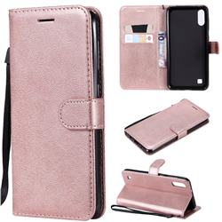 Retro Greek Classic Smooth PU Leather Wallet Phone Case for Samsung Galaxy M10 - Rose Gold