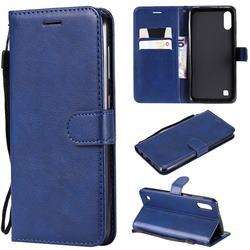 Retro Greek Classic Smooth PU Leather Wallet Phone Case for Samsung Galaxy M10 - Blue