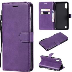 Retro Greek Classic Smooth PU Leather Wallet Phone Case for Samsung Galaxy M10 - Purple