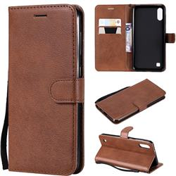 Retro Greek Classic Smooth PU Leather Wallet Phone Case for Samsung Galaxy M10 - Brown