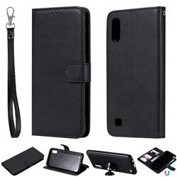Retro Greek Detachable Magnetic PU Leather Wallet Phone Case for Samsung Galaxy M10 - Black