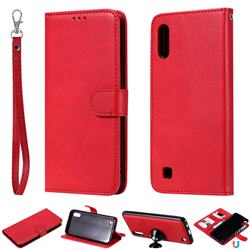 Retro Greek Detachable Magnetic PU Leather Wallet Phone Case for Samsung Galaxy M10 - Red