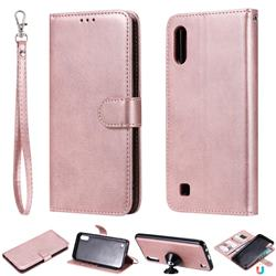 Retro Greek Detachable Magnetic PU Leather Wallet Phone Case for Samsung Galaxy M10 - Rose Gold