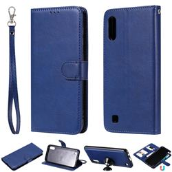 Retro Greek Detachable Magnetic PU Leather Wallet Phone Case for Samsung Galaxy M10 - Blue