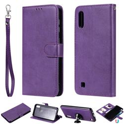 Retro Greek Detachable Magnetic PU Leather Wallet Phone Case for Samsung Galaxy M10 - Purple