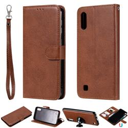 Retro Greek Detachable Magnetic PU Leather Wallet Phone Case for Samsung Galaxy M10 - Brown