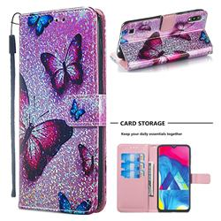 Blue Butterfly Sequins Painted Leather Wallet Case for Samsung Galaxy M10