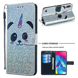 Panda Unicorn Sequins Painted Leather Wallet Case for Samsung Galaxy M10