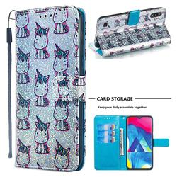 Little Unicorn Sequins Painted Leather Wallet Case for Samsung Galaxy M10