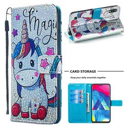 Star Unicorn Sequins Painted Leather Wallet Case for Samsung Galaxy M10