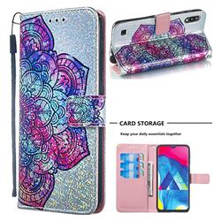 Glutinous Flower Sequins Painted Leather Wallet Case for Samsung Galaxy M10