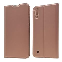 Ultra Slim Card Magnetic Automatic Suction Leather Wallet Case for Samsung Galaxy M10 - Rose Gold