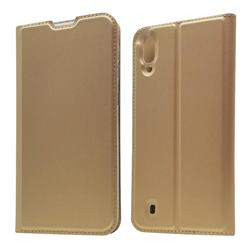 Ultra Slim Card Magnetic Automatic Suction Leather Wallet Case for Samsung Galaxy M10 - Champagne