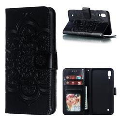 Intricate Embossing Datura Solar Leather Wallet Case for Samsung Galaxy M10 - Black