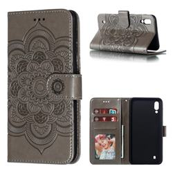Intricate Embossing Datura Solar Leather Wallet Case for Samsung Galaxy M10 - Gray
