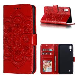 Intricate Embossing Datura Solar Leather Wallet Case for Samsung Galaxy M10 - Red