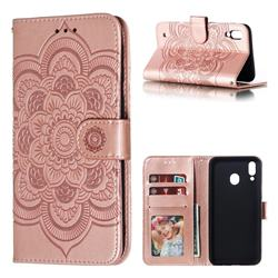 Intricate Embossing Datura Solar Leather Wallet Case for Samsung Galaxy M10 - Rose Gold
