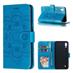 Intricate Embossing Datura Solar Leather Wallet Case for Samsung Galaxy M10 - Blue