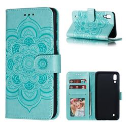 Intricate Embossing Datura Solar Leather Wallet Case for Samsung Galaxy M10 - Green