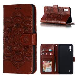 Intricate Embossing Datura Solar Leather Wallet Case for Samsung Galaxy M10 - Brown