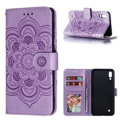 Intricate Embossing Datura Solar Leather Wallet Case for Samsung Galaxy M10 - Purple