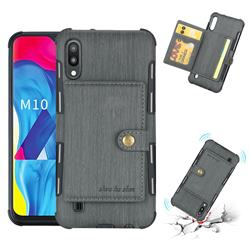 Brush Multi-function Leather Phone Case for Samsung Galaxy M10 - Gray