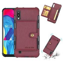 Brush Multi-function Leather Phone Case for Samsung Galaxy M10 - Wine Red