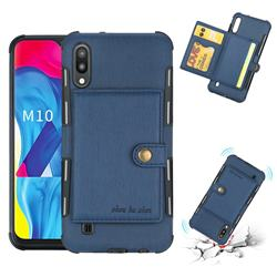 Brush Multi-function Leather Phone Case for Samsung Galaxy M10 - Blue