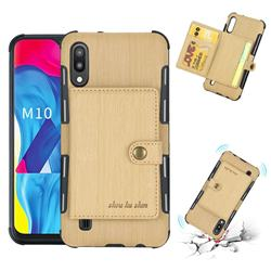 Brush Multi-function Leather Phone Case for Samsung Galaxy M10 - Golden