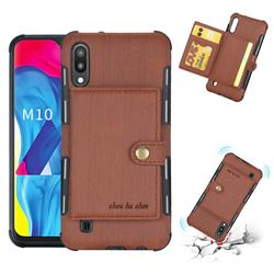Brush Multi-function Leather Phone Case for Samsung Galaxy M10 - Brown