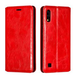 Retro Slim Magnetic Crazy Horse PU Leather Wallet Case for Samsung Galaxy M10 - Red