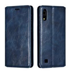 Retro Slim Magnetic Crazy Horse PU Leather Wallet Case for Samsung Galaxy M10 - Blue