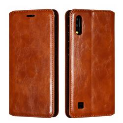 Retro Slim Magnetic Crazy Horse PU Leather Wallet Case for Samsung Galaxy M10 - Brown