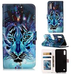Ice Wolf 3D Relief Oil PU Leather Wallet Case for Samsung Galaxy M10