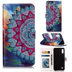 Mandala Flower 3D Relief Oil PU Leather Wallet Case for Samsung Galaxy M10