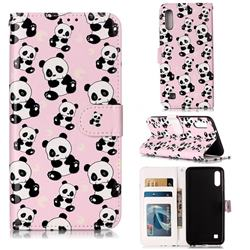 Cute Panda 3D Relief Oil PU Leather Wallet Case for Samsung Galaxy M10