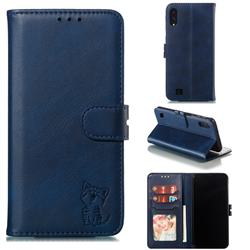 Embossing Happy Cat Leather Wallet Case for Samsung Galaxy M10 - Blue